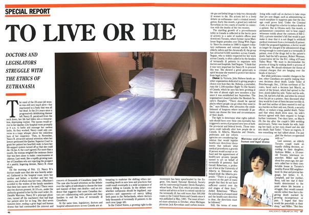 Article Preview: TO LIVE OR DIE, February 1992 | Maclean's