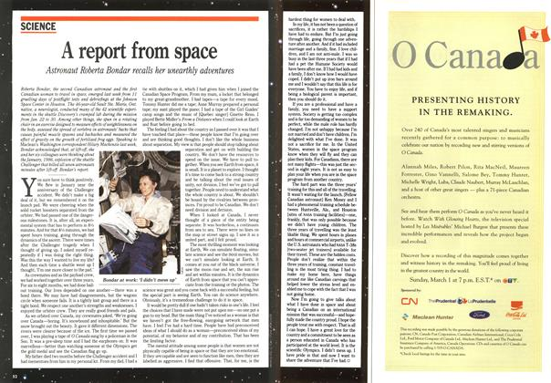 Article Preview: A report from space, February 1992 | Maclean's