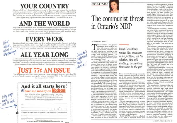 Article Preview: The communist threat in Ontario's NDP, February 1992 | Maclean's