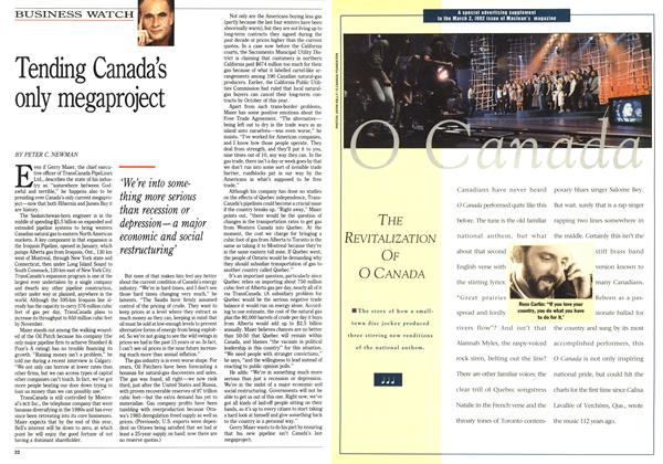 Article Preview: Tending Canada's only megaproject, March 1992 | Maclean's