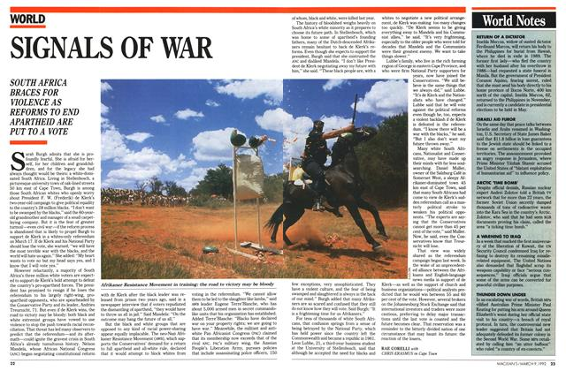 Article Preview: SIGNALS OF WAR, March 1992 | Maclean's