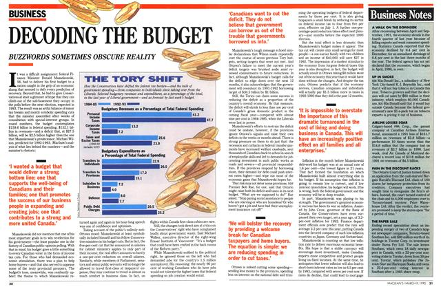 Article Preview: DECODING THE BUDGET, March 1992 | Maclean's