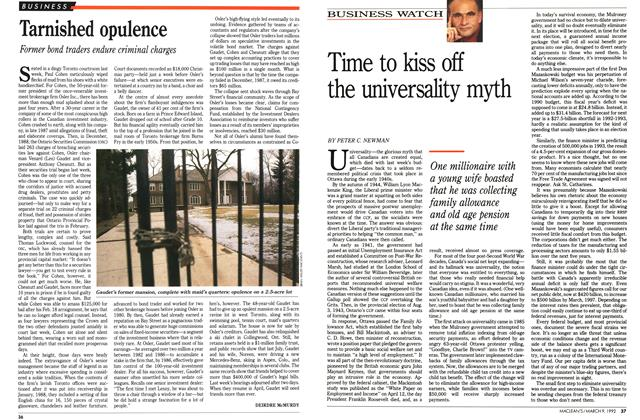 Article Preview: Time to kiss off the universality myth, March 1992 | Maclean's