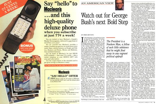 Article Preview: Watch out for George Bush's next Bold Step, March 1992 | Maclean's