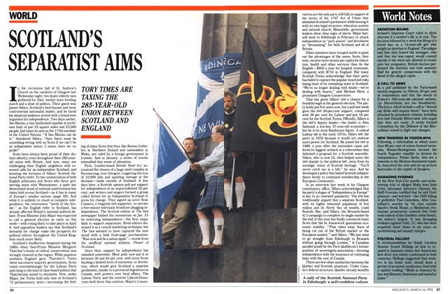 Article Preview: SCOTLAND'S SEPARATIST AIMS, March 1992 | Maclean's
