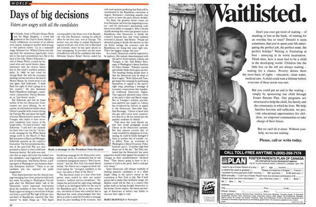 Article Preview: Days of big decisions, March 1992 | Maclean's