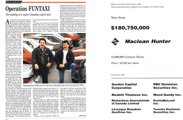 Article Preview: Operation FUNTAXI, March 1992 | Maclean's