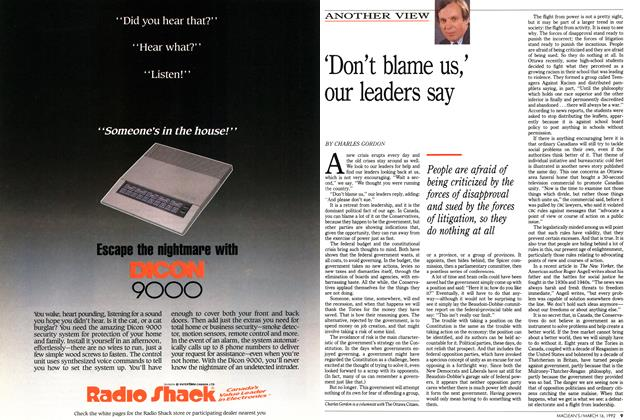 Article Preview: 'Don't blame us,' our leaders say, March 1992 | Maclean's