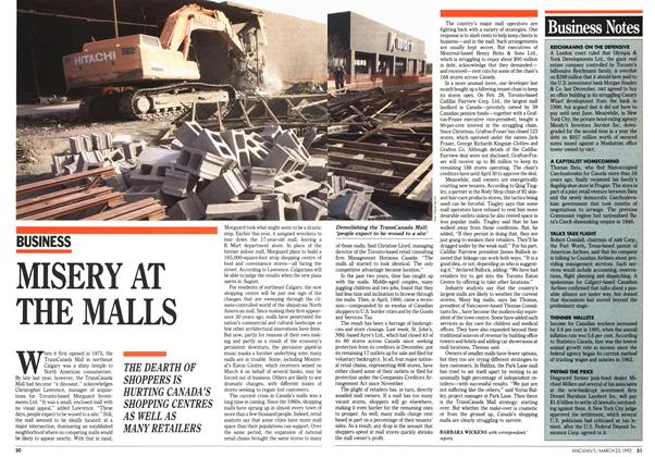 Article Preview: MISERY AT THE MALLS, March 1992 | Maclean's