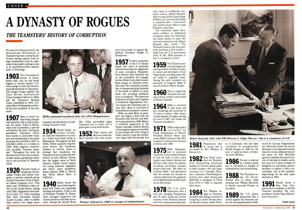 Article Preview: A DYNASTY OF ROGUES, March 1992 | Maclean's