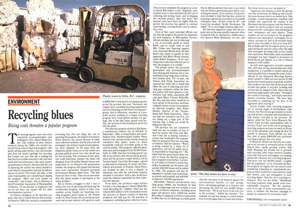 Article Preview: Recycling blues, March 1992 | Maclean's