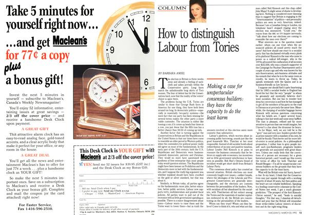 Article Preview: How to distinguish Labour from Tories, March 1992 | Maclean's