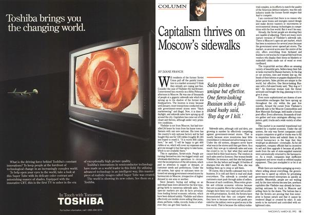 Article Preview: Capitalism thrives on Moscow's sidewalks, March 1992 | Maclean's