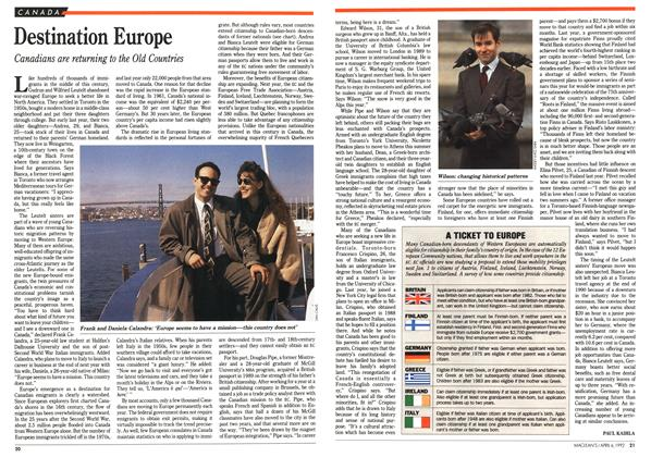 Article Preview: Destination Europe, April 1992 | Maclean's