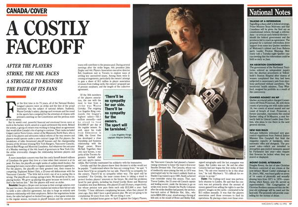 Article Preview: A COSTLY FACEOFF, April 1992 | Maclean's