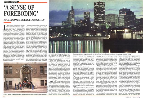 Article Preview: 'A SENSE OF FOREBODING', April 1992 | Maclean's