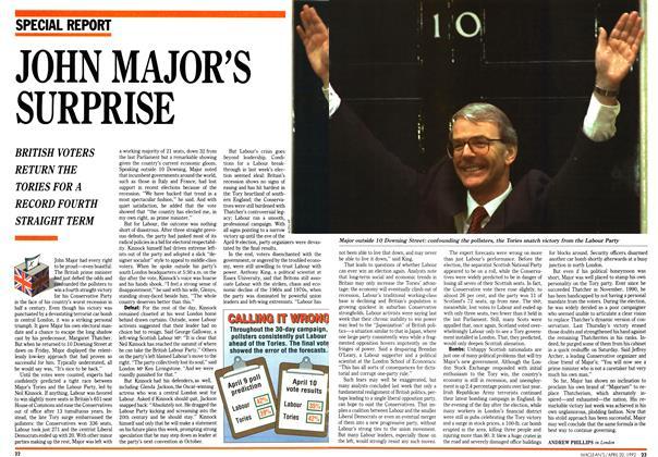 Article Preview: JOHN MAJOR'S SURPRISE, April 1992 | Maclean's