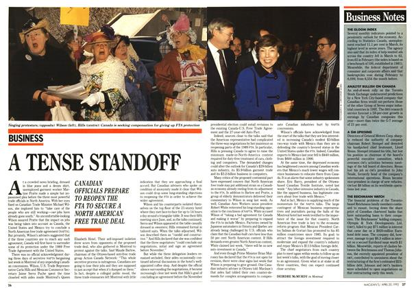 Article Preview: A TENSE STANDOFF, April 1992 | Maclean's