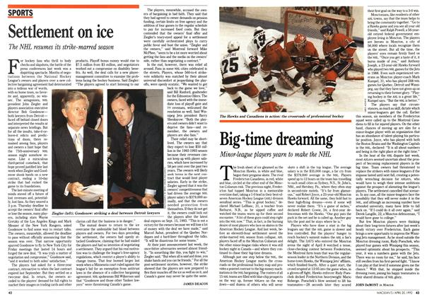 Article Preview: Settlement on ice, April 1992 | Maclean's