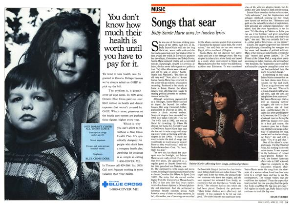Article Preview: Songs that sear, April 1992 | Maclean's