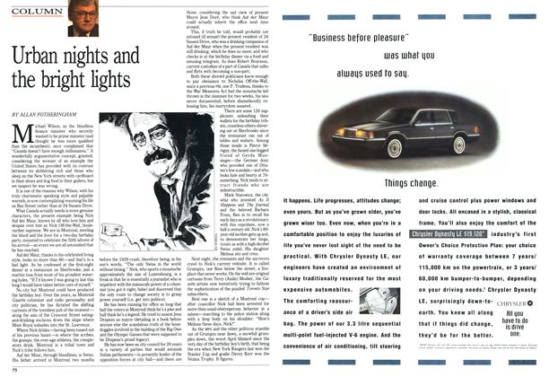 Article Preview: Urban nights and the bright lights, April 1992   Maclean's
