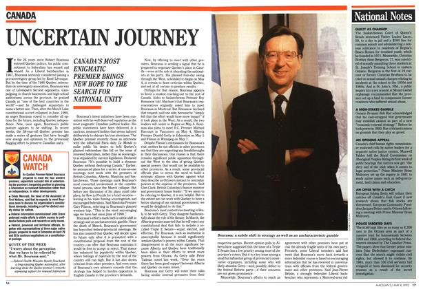 Article Preview: UNCERTAIN JOURNEY, May 1992 | Maclean's