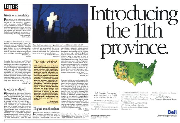 Article Preview: LETTERS, May 1992 | Maclean's