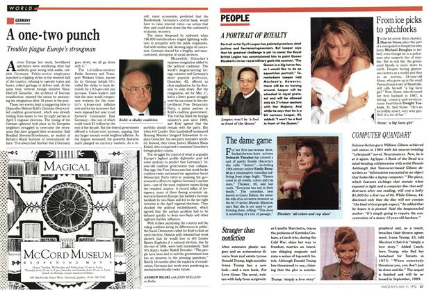Article Preview: A one-two punch, May 1992 | Maclean's