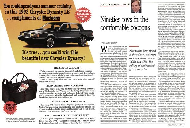 Article Preview: Nineties toys in the comfortable cocoons, May 1992 | Maclean's