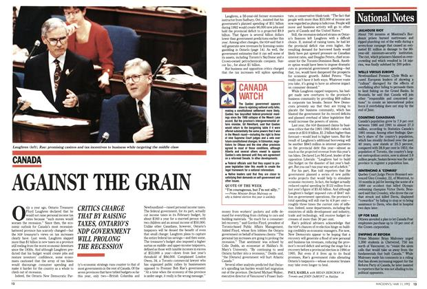 Article Preview: AGAINST THE GRAIN, May 1992 | Maclean's