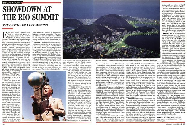 Article Preview: SHOWDOWN AT THE RIO SUMMIT, May 1992 | Maclean's