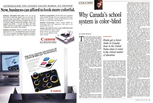 Article Preview: Why Canada's school system is color-blind, May 1992 | Maclean's