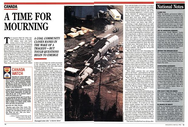 Article Preview: A TIME FOR MOURNING, May 1992 | Maclean's