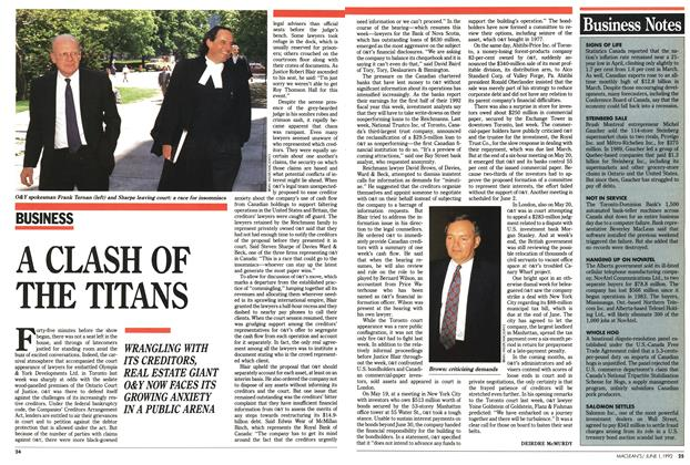 Article Preview: A CLASH OF THE TITANS, June 1992 | Maclean's