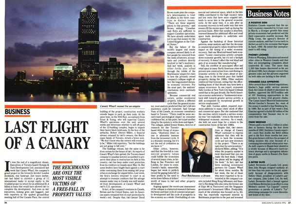 Article Preview: LAST FLIGHT OF A CANARY, June 1992 | Maclean's