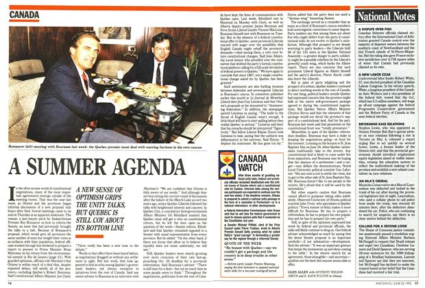 Article Preview: A SUMMER AGENDA, June 1992 | Maclean's