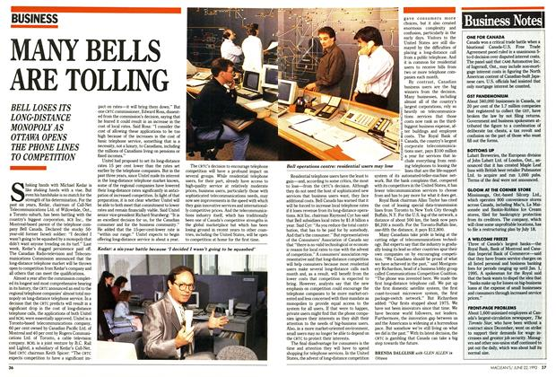 Article Preview: MANY BELLS ARE TOLLING, June 1992 | Maclean's