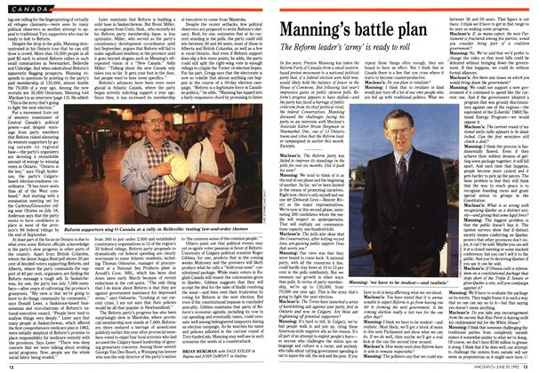 Article Preview: Manning's battle plan, June 1992 | Maclean's