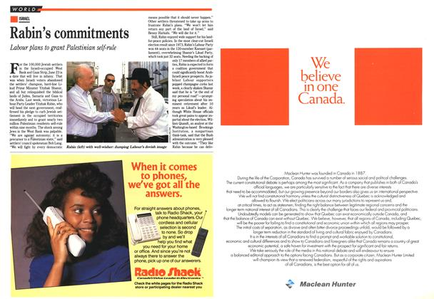 Article Preview: Rabin's commitments, July 1992 | Maclean's