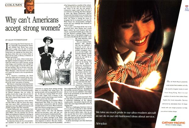 Article Preview: Why can't Americans accept strong women?, July 1992 | Maclean's