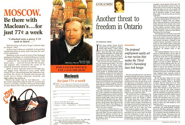 Article Preview: Another threat to freedom in Ontario, July 1992 | Maclean's
