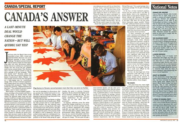 Article Preview: CANADA'S ANSWER, July 1992 | Maclean's