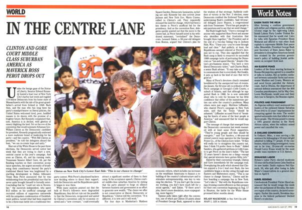 Article Preview: IN THE CENTRE LANE, July 1992 | Maclean's