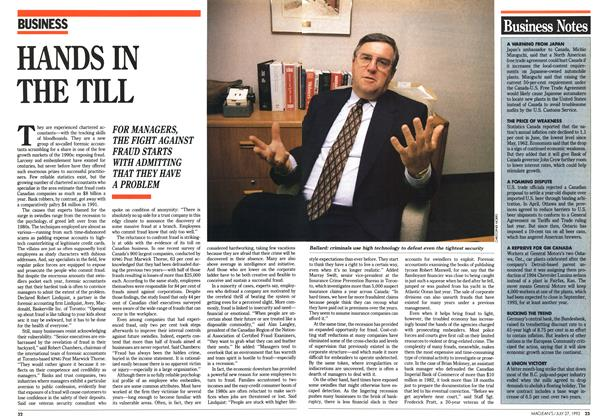 Article Preview: HANDS IN THE TILL, July 1992 | Maclean's