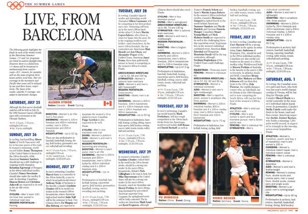Article Preview: LIVE, FROM BARCELONA, July 1992 | Maclean's