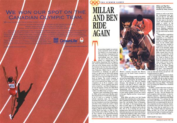 Article Preview: MILLAR AND BEN RIDE AGAIN, July 1992 | Maclean's