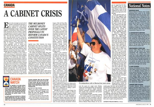Article Preview: A CABINET CRISIS, July 1992 | Maclean's