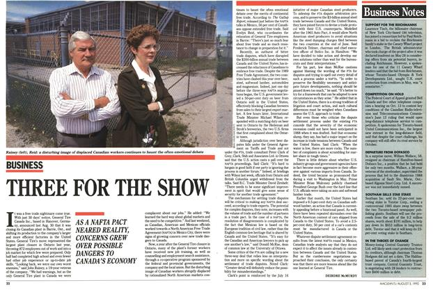 Article Preview: THREE FOR THE SHOW, August 1992 | Maclean's