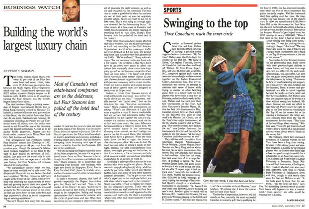 Article Preview: Swinging to the top, August 1992 | Maclean's