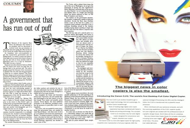 Article Preview: A government that has run out of puff, August 1992   Maclean's